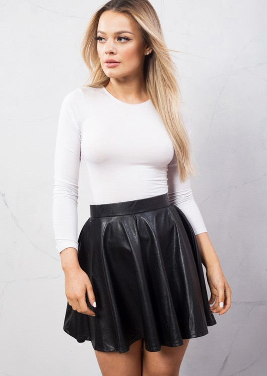 Faux Leather Skater Skirt Black
