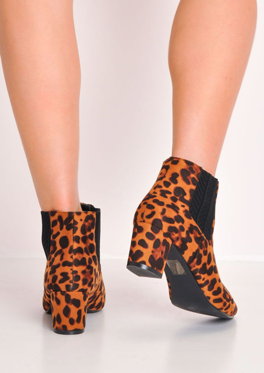 Leopard Print Block Mid Heel Pointed Chelsea Ankle Boots Multi