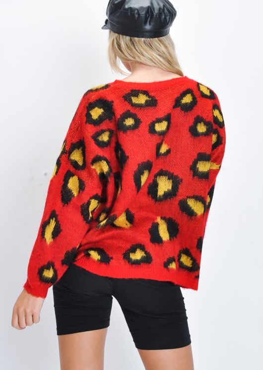 Leopard Print Crew Neck Slouchy Knit Jumper Red