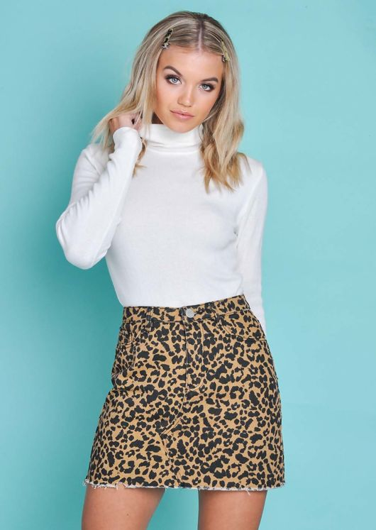 Leopard Print Denim Mini Skirt Multi
