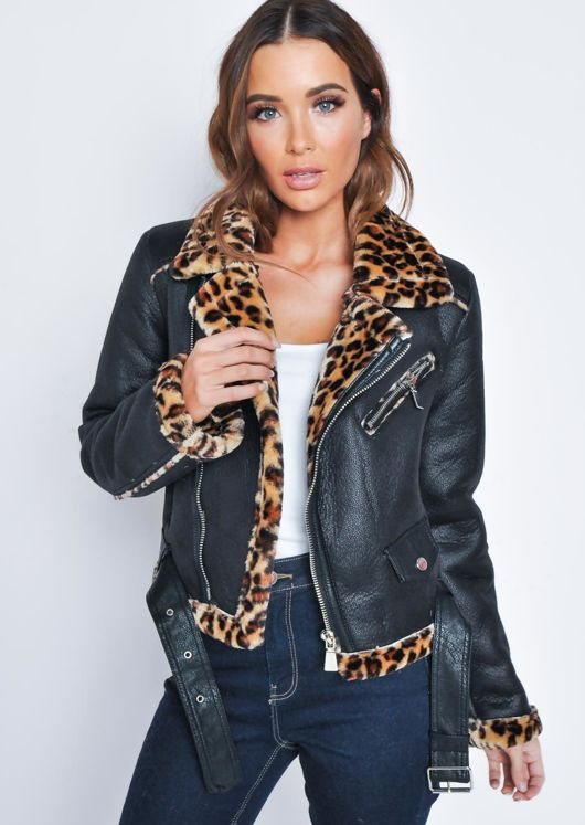 Leopard Print Detail Faux Leather Aviator Jacket Black