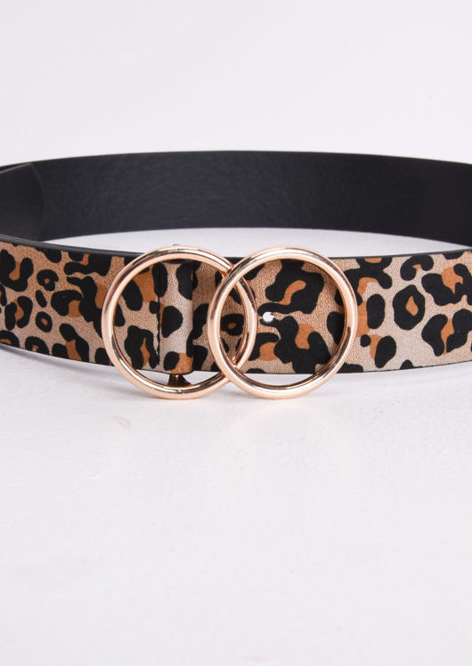 Leopard Print Double Circle Buckle Belt Gold