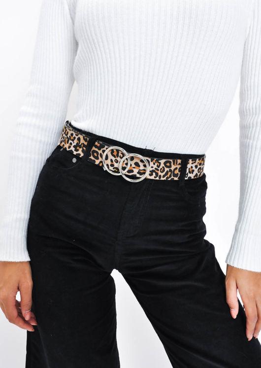 Leopard Print Double Circle Buckle Belt Multi
