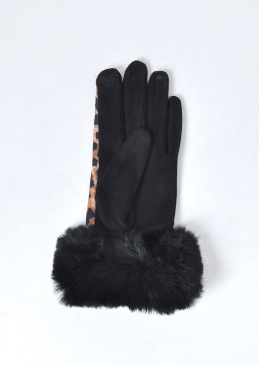 Leopard Print Faux Fur Gloves Multi