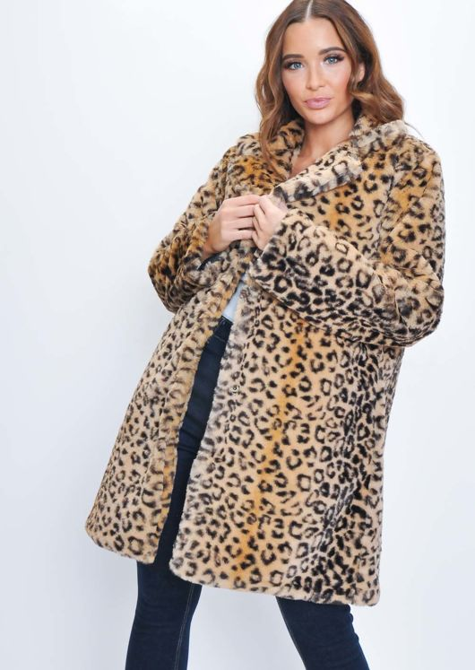 Leopard Print Faux Fur Longline Coat Multi