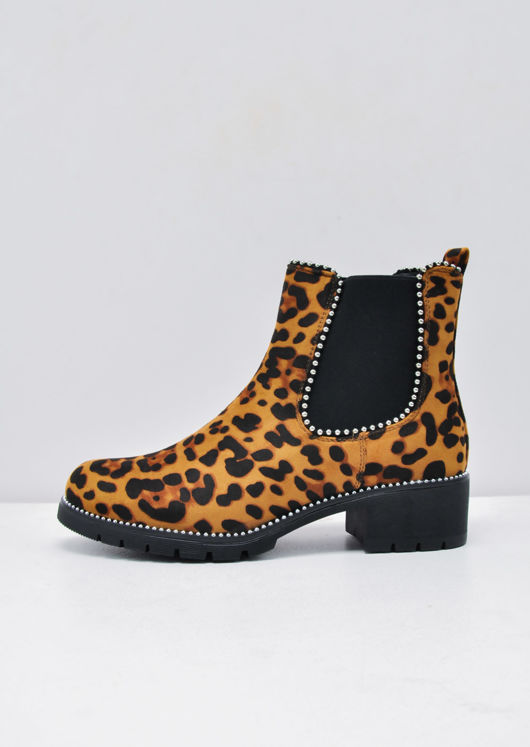 Leopard Print Faux Suede Chunky Studded Chelsea Ankle Boots Multi