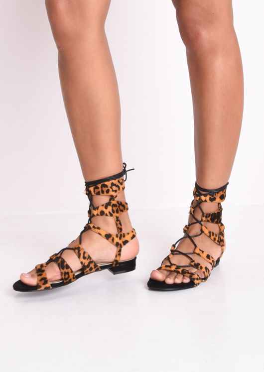 Leopard Print Faux Suede Strappy Gladiator Flat Sandals Multi