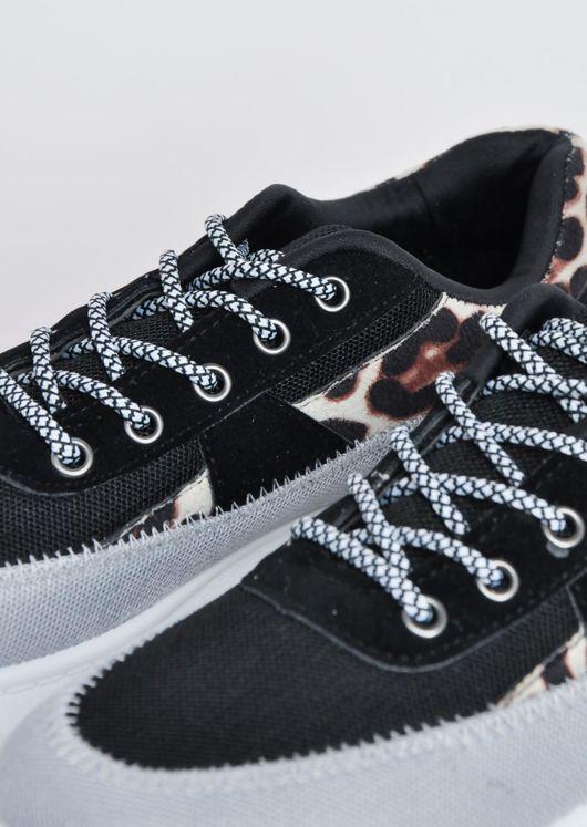 Leopard Print Flatform Block Colour Lace Up Chunky Trainers Multi