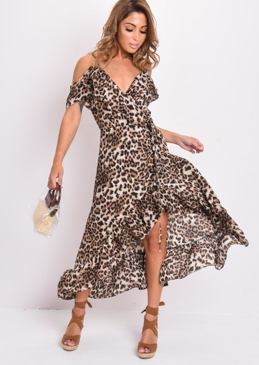 Leopard Print Frill Detail Maxi Dress Multi