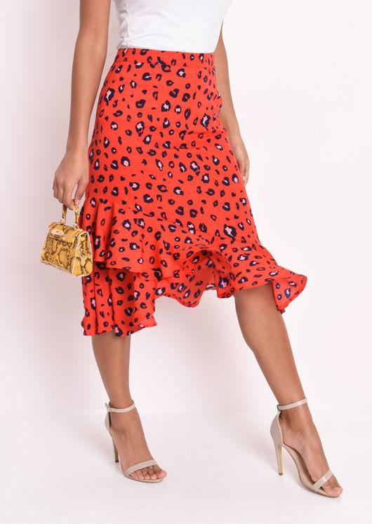 Leopard Print Frill Hem Asymmetric Midi Skirt Red