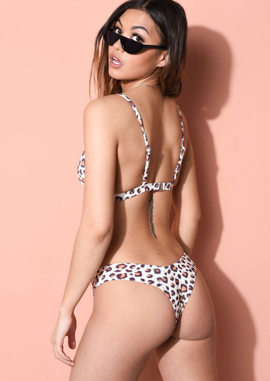 Leopard Print High Leg Triangle Bikini Top and Bottom Set Multi