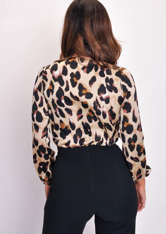 Leopard Print Long Sleeve Wrap Bodysuit Multi