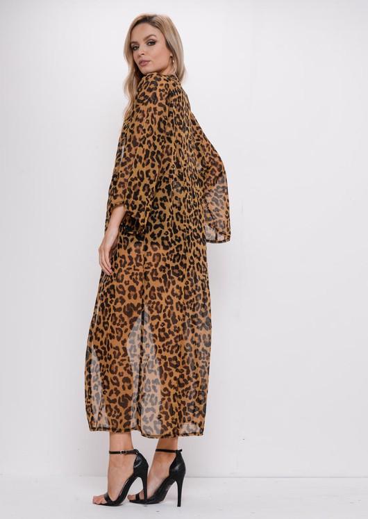 d7834b6aab48f Leopard Print Maxi Longline Beach Kimono Brown
