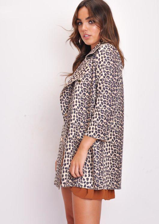 Leopard Print Oversized Longline Blazer Jacket Brown