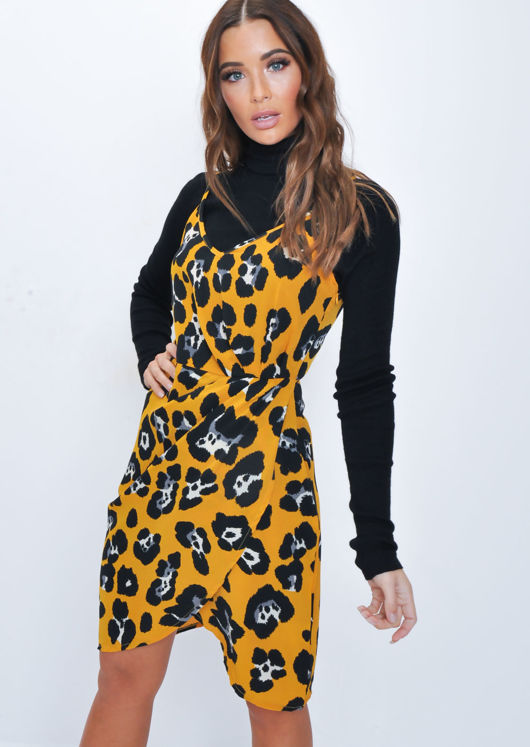 Leopard Print Sleeveless Pleated Wrap Over Dress Mustard Yellow