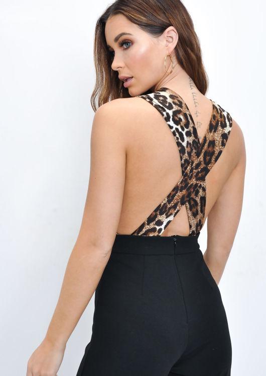 Leopard Print Plunge Halterneck Bodysuit Multi