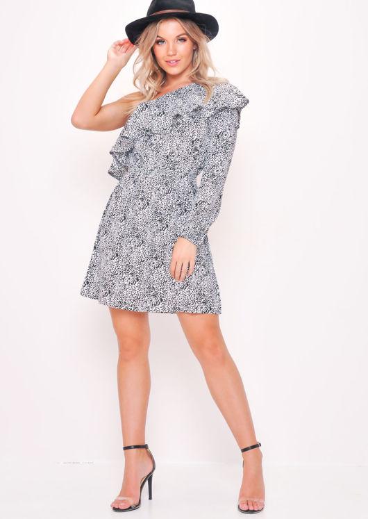 Leopard Print Ruffle One Shoulder Mini Dress White
