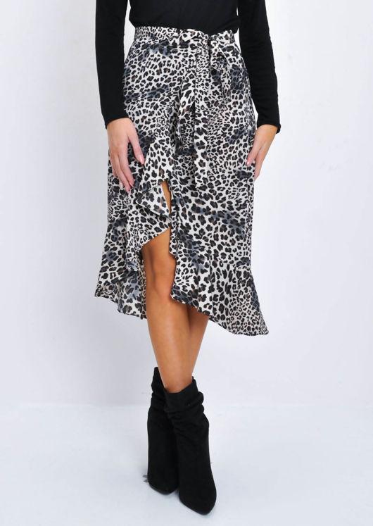 Leopard Print Ruffle Wrap Sarong Midi Skirt Multi