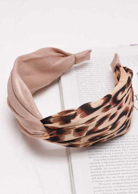 Leopard Print Satin Knot Front Headband Beige