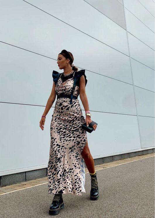 Leopard Print Satin Slip Cowl Neck Side Split Maxi Dress Multi