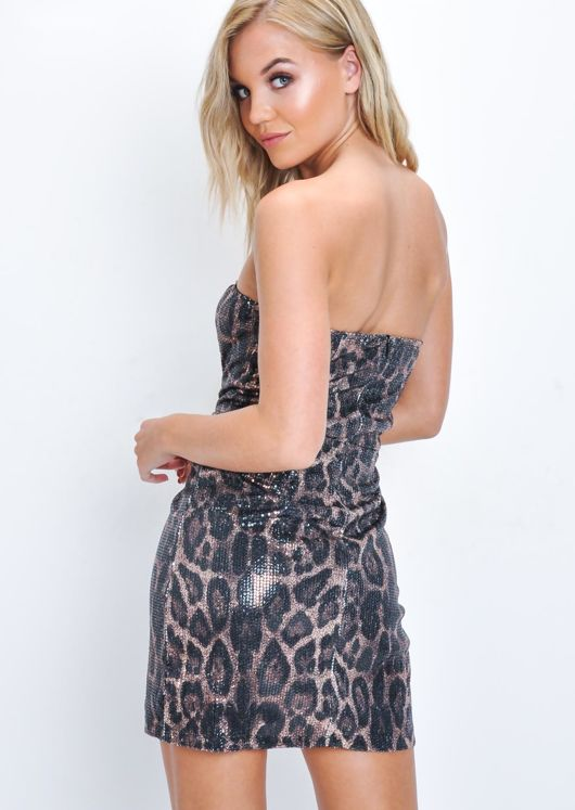 Leopard Print Sequin Strapless Mini Dress Multi