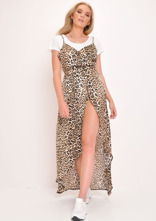 8e2de12fdc07 Corra' Leopard Print Side Split Maxi Dress | Lily Lulu Fashion