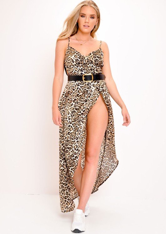 564aceeb1cc4 'Corra' Leopard Print Side Split Maxi Dress | Lily Lulu Fashion