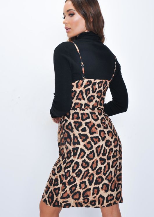 Leopard Print Sleeveless Pleated Wrap Over Dress Brown