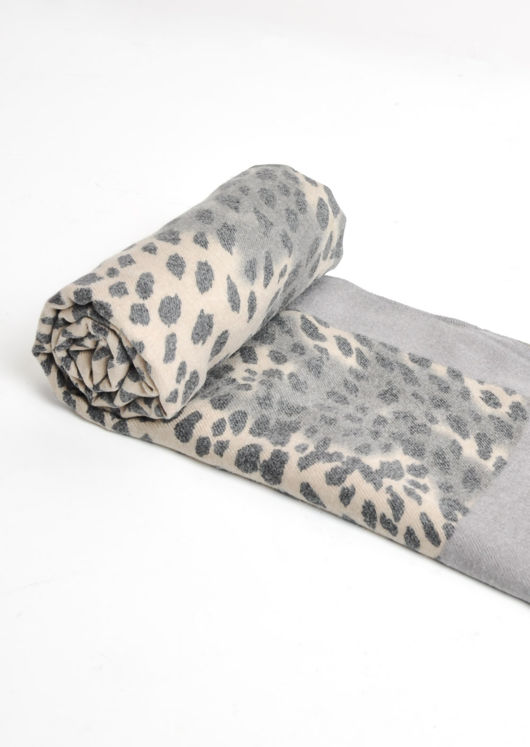 Leopard Print Soft Touch Border Scarf Grey