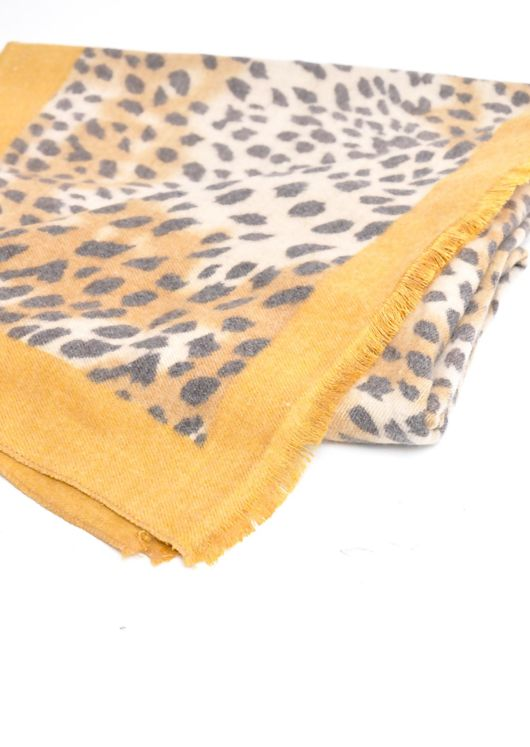 Leopard Print Soft Touch Border Scarf Mustard Yellow