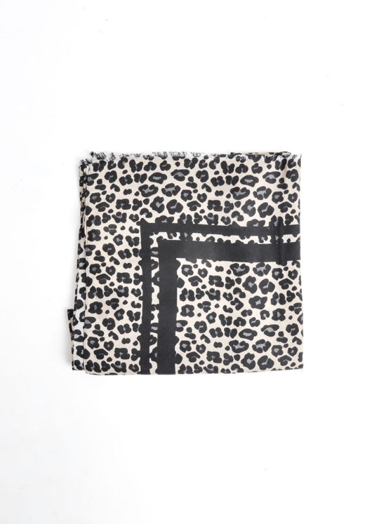 Leopard Print Soft Touch Scarf Black