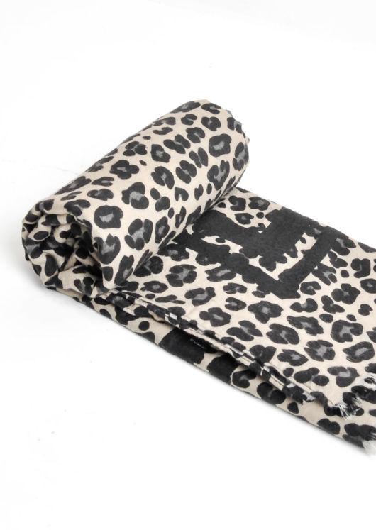 Leopard Print Soft Touch Scarf Black