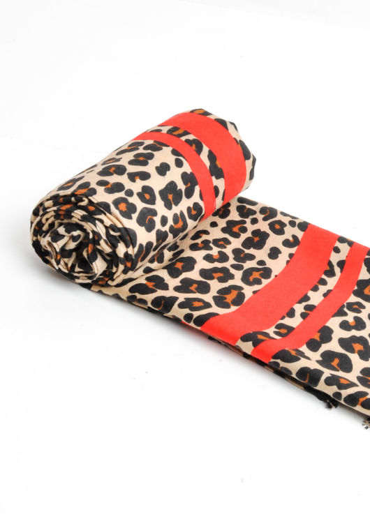 Leopard Print Soft Touch Scarf Red