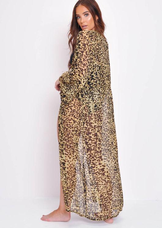 Leopard Print Tie Waist Kimono Multi