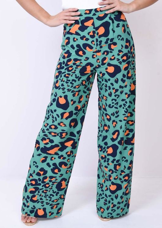 Leopard Print Wide Leg Trousers Green