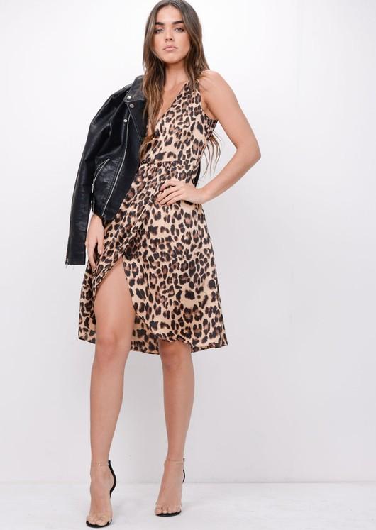 Leopard Print Plunge Wrap Over Midi Dress Brown