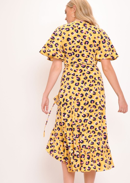 e69a640aec3e Maleah' Yellow Leopard Print Wrap Midi Dress | Lily Lulu Fashion