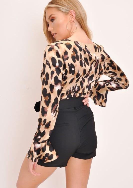 Leopard Tie Front Frill Ruffle Flare Sleeve Crop Top Multi
