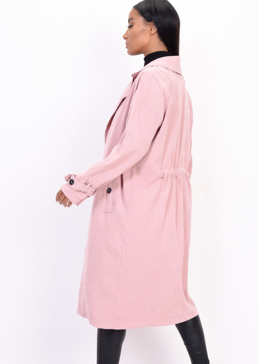 Light Weighted Longline Trench Coat Pink