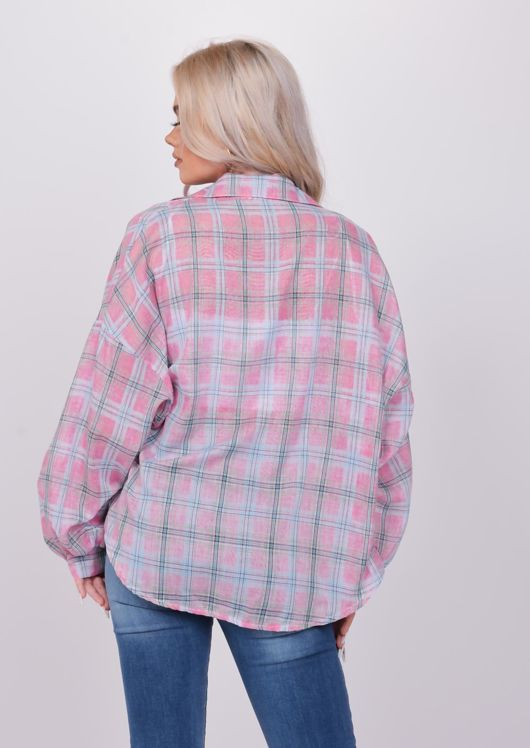 Lightweight Button Down Oversized Checked Shirt Pink