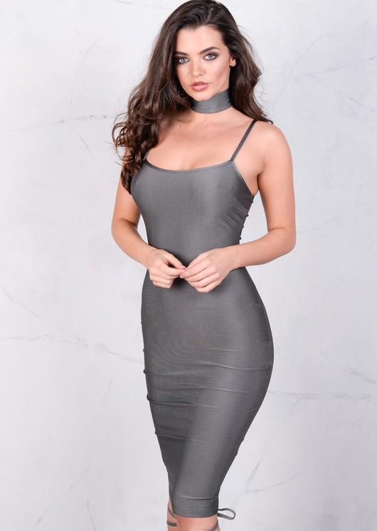 Lightweight Metallic Bodycon Midi Dress Grey Silver
