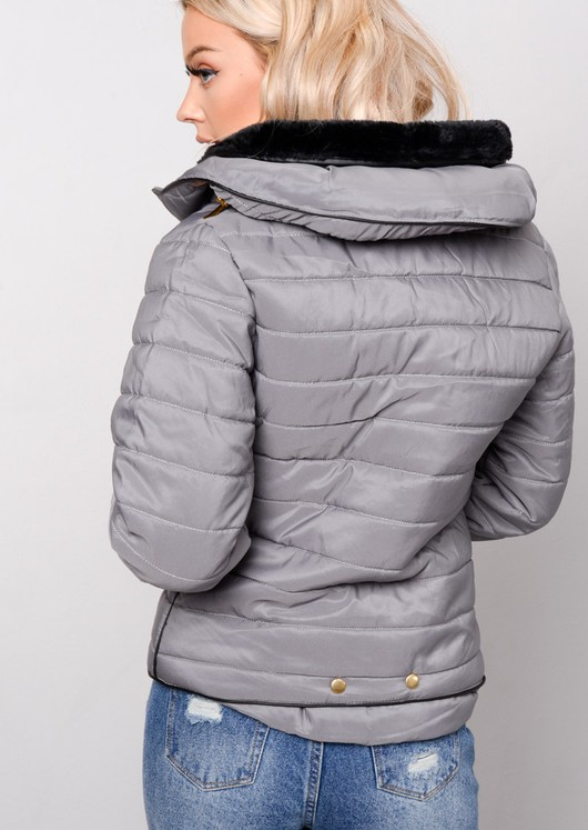 40342ae067d9 Lightweight Quilted Puffer Padded Jacket Coat Grey