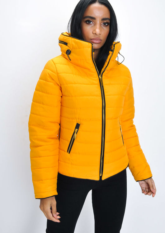 Lightweight Quilted Puffer Padded Jacket Coat Mustard Yellow