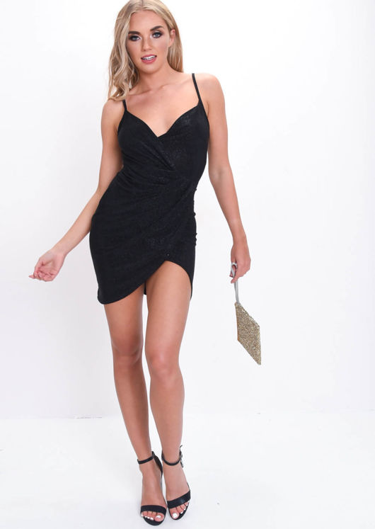 Glitter Lurex Draped Wrap Front Slinky Mini Dress Black