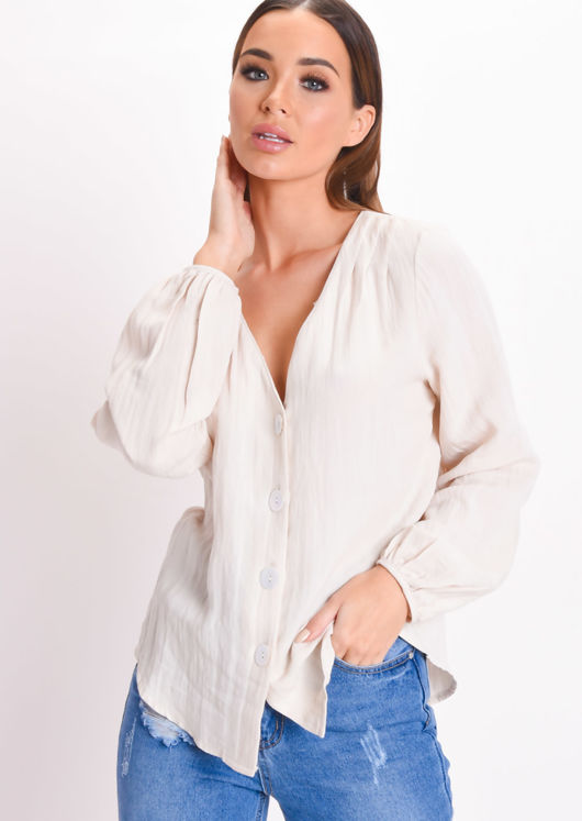 Linen Gathered Sleeve Button Through Blouse Beige