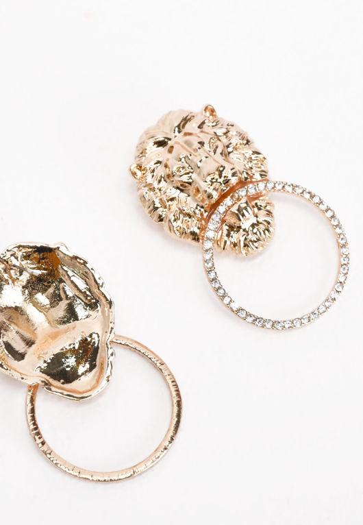Lion Diamante Hoop Earrings Gold