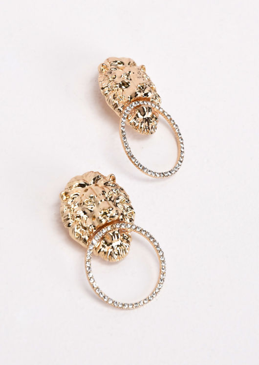 Lion Diamante Hoop Earrings Gold