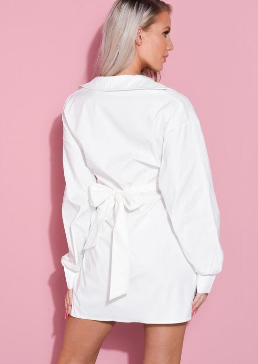 Tie Waist Belted Button Through Shirt Dress White