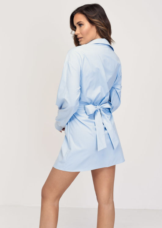 Tie Waist Belted Button Through Shirt Dress Blue