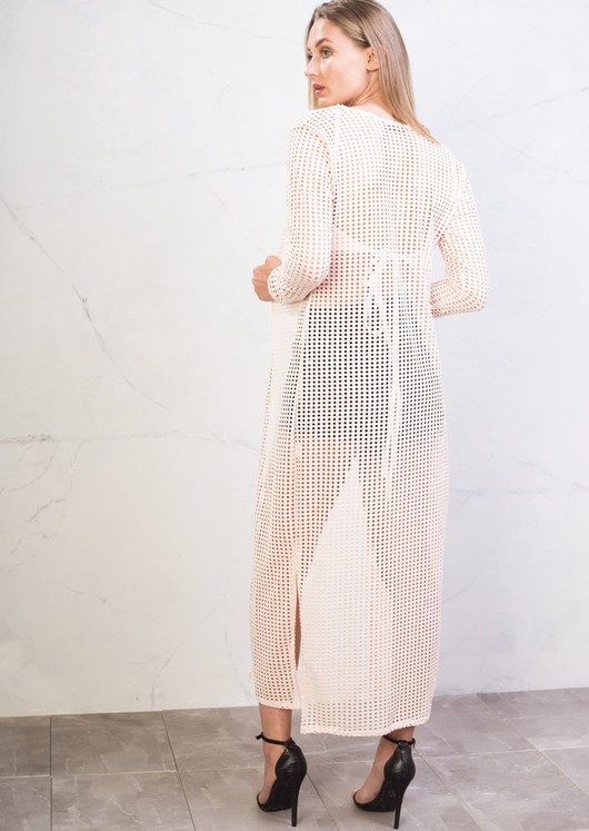 Long Crochet Side Split Maxi Kimono Top Dusty Pink